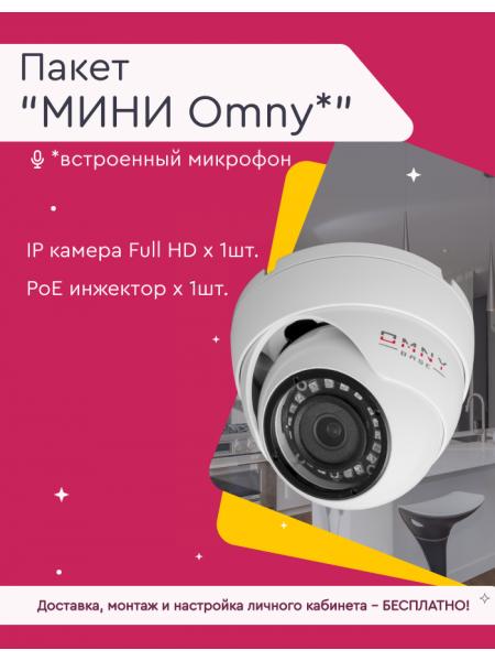 Видеонаблюдение под ключ, пакет «Мини Omny» (купольная/цилиндрическая камера со встроенным микрофоном)