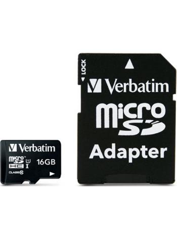 Карта памяти Verbatim microSDHC Class 10 16GB + SD adapter
