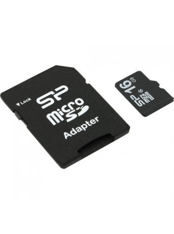 Карта памяти Silicon Power <SP016GBSTH004V10> microSDHC Memory Card 16Gb Class4