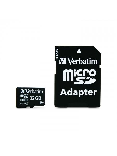 Карта памяти Verbatim microSDHC Class 10 32GB + SD adapter