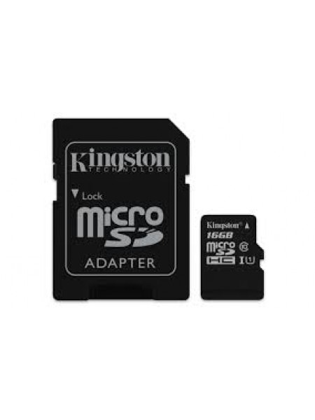 Карта памяти Kingston microSDC-16Gb Class10 + microSD, SD Adapter