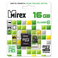 Флеш карта microSD 16GB Mirex microSDHC Class 10 (SD адаптер)