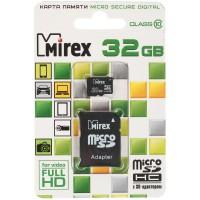 Флеш карта microSD 32GB Mirex microSDHC Class 10 (SD адаптер)