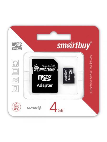 Карта памяти MicroSDHC  4 Gb SmartBuy class 10