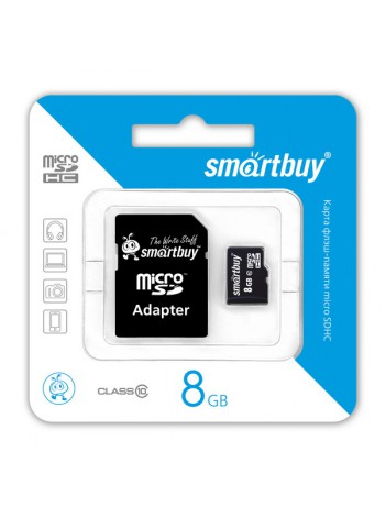 Карта памяти MicroSDHC  8 Gb SmartBuy class 10